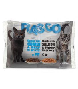Kapsičky RASCO Cat s lososem a pstruhem / s kuřecím a hovězím multipack 400g