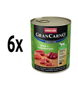 6x konzerva ANIMONDA Gran Carno hovězí + kachní srdce 800g