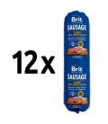12x salám BRIT Premium Sausage Sport – Beef & Fish 800g