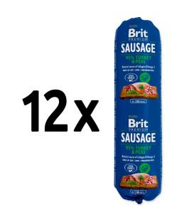 12x salám BRIT Premium Sausage Turkey & Peas 800g