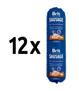 12x salám BRIT Premium Sausage Chicken & Rabbit 800g