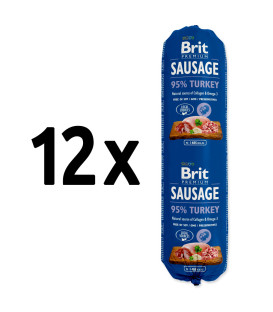 12x salám BRIT Premium Dog Sausage Turkey 800g
