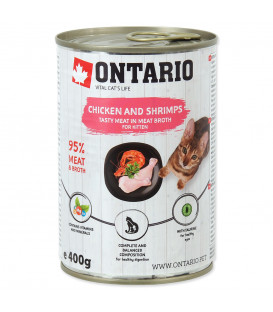 Konzerva ONTARIO Kitten Chicken, Shrimp, Rice and Salmon Oil 400g